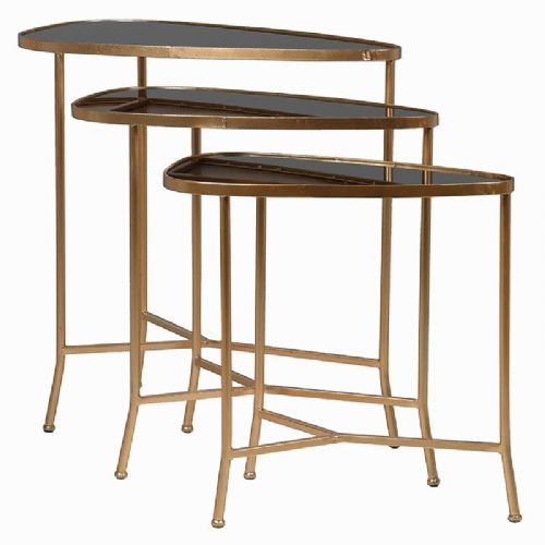 Set of 3 Gold & Black Nest of Tables